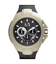 A|X Armani Exchange Black/Tan Men's Black Silicone Watch with Tan Coated Case