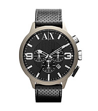 A|X Armani Exchange Black/Tan Men's Black Leather Watch with Tan Coated Case