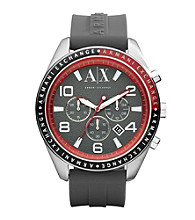 A|X Armani Exchange Grey/Red Men's Grey Silicone Watch with Red Accents