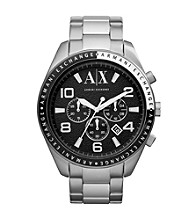 A|X Armani Exchange Silver Men's Stainless Steel Bracelet Watch with Black Dial