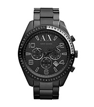 A|X Armani Exchange Black/Tan Men's Black Ion-Plated Bracelet Watch