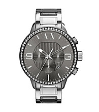 A|X Armani Exchange Grey Men's Grey Plated Bracelet Watch with Glitz Top Ring