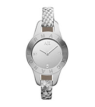 A|X Armani Exchange White Women's White Python Printed Strap Watch with Mirror Dial