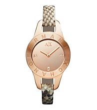 A|X Armani Exchange Brown Women's Brown Python Printed Strap Watch with Rose Gold Case and Mirror Dial