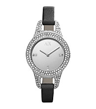 A|X Armani Exchange Black Women's Black Leather Strap Watch with Mirror Dial and Glitz Encrusted Case