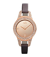 A|X Armani Exchange Brown Women's Brown Leather Strap Watch with Mirror Dial and Glitz Encrusted Case