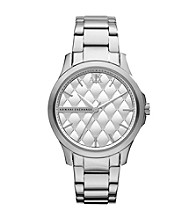 A|X Armani Exchange Silver Women's Stainless Steel Bracelet Watch with Matte Quilted Dial