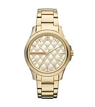 A|X Armani Exchange Women's Goldtone with Matte Quilted Dial Watch
