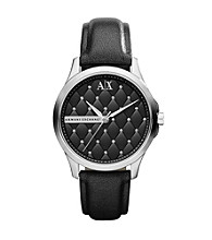 A|X Armani Exchange Black Women's Black Leather Watch with Matte Quilted Dial and Glitz at each Quilt Intersecton