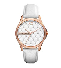 A|X Armani Exchange Women's White Leather Watch and Rose Gold Tone Case with Matte Quilted Dial and Glitz at each Quilt Intersec