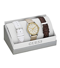 Guess Gold Sporty & Feminine Watch with Changeable Strap Set