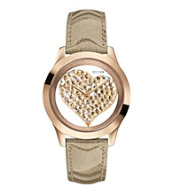 Guess Rose Goldtone Clearly Inspired Heart Watch
