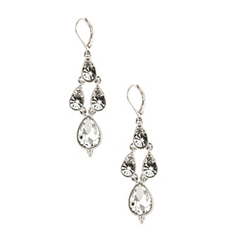 Napier® Crystal Silvertone and Clear Stone Leverback Chandelier Earrings