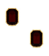 Anne Klein® Gold Tone Palatine Red Button Earrings