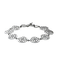 Fossil® Silvertone Iconic Signature Cut Out Steel Disk Link Bracelet