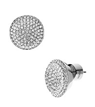 Michael Kors® Silver Plated Silvertone Concave Pave Stud Earrings
