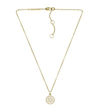 MMichael Kors® Gold Plated Goldtone Concave Pave Pendant Necklace