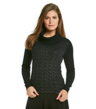 AGB® Petites' Foil Turtleneck Sweater