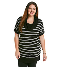 AGB® Plus Size Striped Cowlneck Sweater