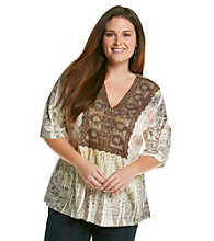 Oneworld® Plus Size Burnout Lace V-Neck With Stones
