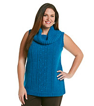 Anne Klein® Plus Size Cowlneck Cabled Pullover
