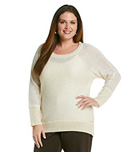 DKNY JEANS® Plus Size High-Low Sequin Shine Pullover Sweater