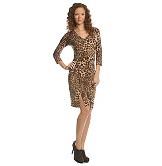 Anne Klein® Petites' Leopard Print Faux Wrap V-neck Dress