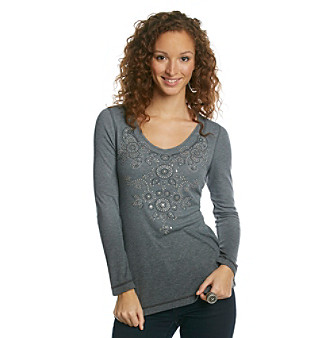 Oneworld® Petites' V-neck Embellished Top