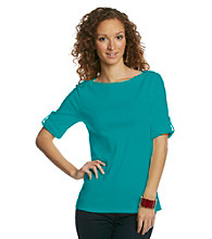 Jones New York Sport® Solid Button-shoulder Boatneck Tee