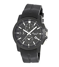 Kenneth Cole New York® Men's Dress Sport Chronograph Movement, Black Dial and Black Silicone Strap
