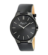 Kenneth Cole New York® Men's Slim Silver Watch with Black Dial and Leather Strap