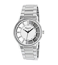 Kenneth Cole New York® Men's Silver Transparent Dial, Silver Bracelet Watch