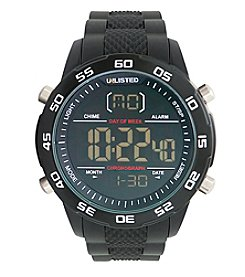 Unlisted by Kenneth Cole® Men's Black Digital Watch with Black Rubber Strap