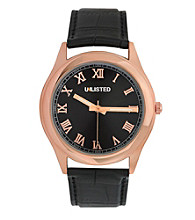Unlisted by Kenneth Cole® Men's Rose Goldtone Case with Rose Goldtone Roman Numerals and Black Strap