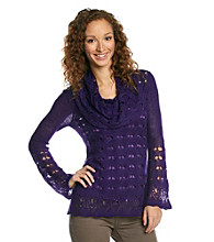 Nine West Vintage America Collection® Ari Open-Stitch Cowlneck Sweater
