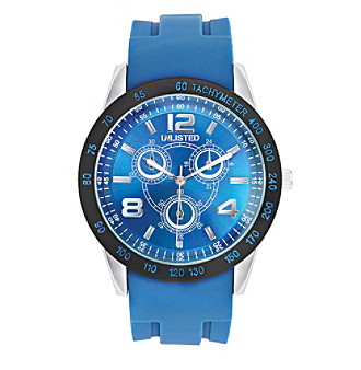 Unlisted by Kenneth Cole® Men's Watch with Silvertone Case, Blue Dial & Blue Rubber Strap