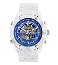 Unlisted by Kenneth Cole® Ana-Digi Dial with White Case, Blue Dial and White Rubber Strap