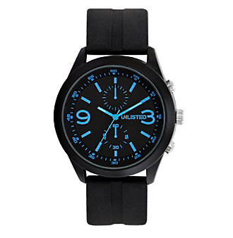 Unlisted by Kenneth Cole® Watch with Black Dial, Blue Indexes and Black Rubber Strap