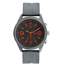 Unlisted by Kenneth Cole® Men's Watch with Grey Dial, Orange Indexes and Grey Rubber Strap