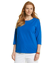 Breckenridge® Plus Size Embellished Scoopneck Tee