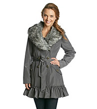 Betsey Johnson® Faux Fur Trimmed Double-Breasted Raincoat