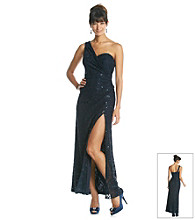 Xscape Long Sequin Crochet One Shoulder Gown