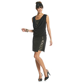 Ronni Nicole® Sequin Inset Drapeneck Dress