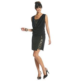 Ronni Nicole® Sequin Inset Drapeneck Dress
