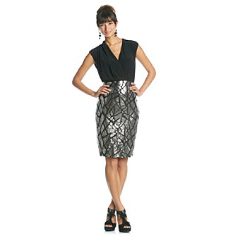 Luxology™ Surplice Dress With Sequin Skirt