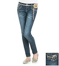 Wallflower Vintage® Juniors' Chain Belted Skinny Jeans