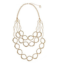 Erica Lyons® Goldtone Three Row Links Mid Necklace