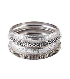 Erica Lyons® Silvertone Bangle Stack Bracelet