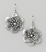 Erica Lyons® Silvertone Flower Drop Pierced Earrings