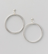 Erica Lyons® Silvertone Front Hoop Two Layer Pierced Earrings